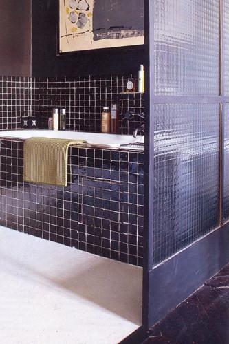 Badezimmer mit Zelliges, negro 5x5 cm