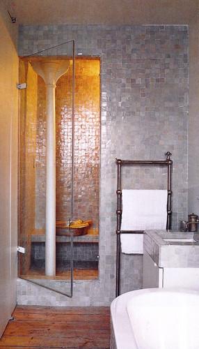 Badezimmer mit Zelliges, beige 5x5 cm