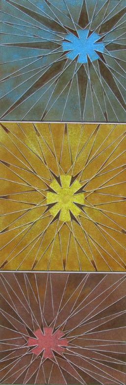"""""""Drei Sterne"""" - Acryl/Rostoxyd 2015"""