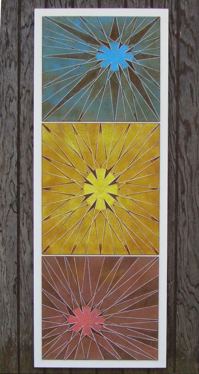 """""""Drei Sterne"""" - Acryl /Eisenoxyd 2015"""
