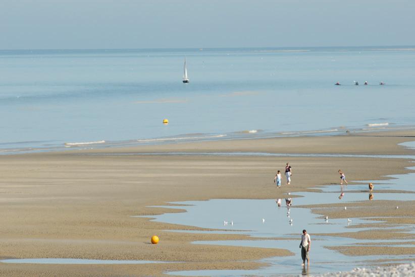 Cayeux sur Mer, la plage à marée basse; Baie de Somme; Parc du marquenterre