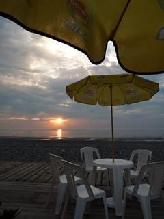 Bar au bord du chemin de planches; Cayeux sur Mer; Baie de Somme