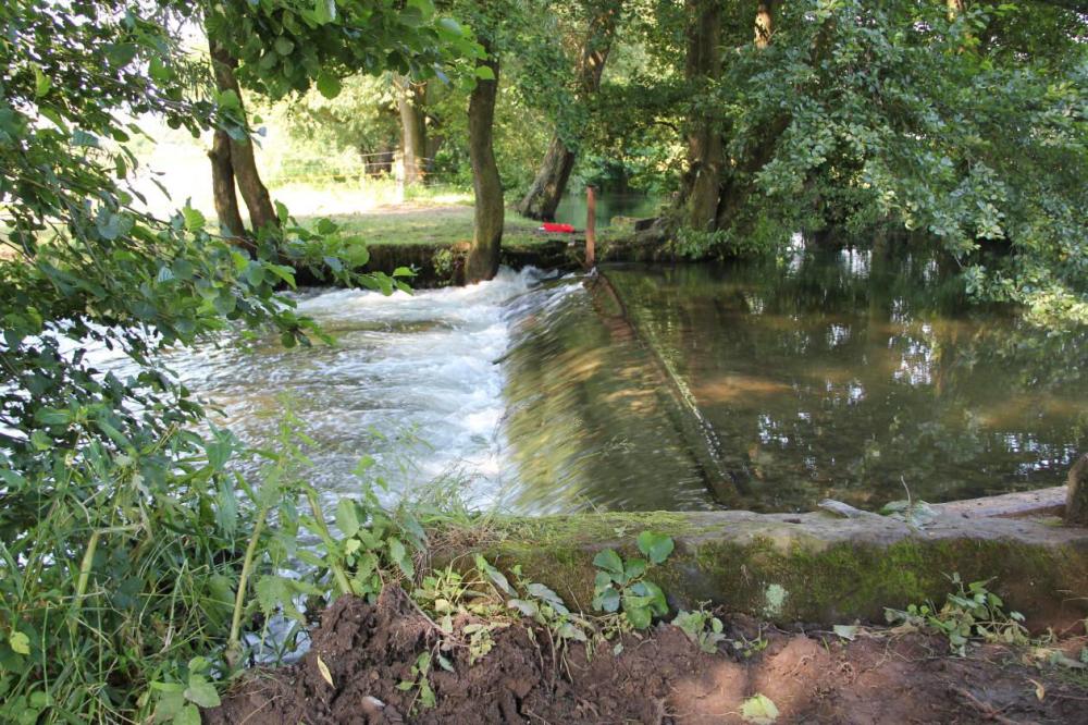 Die Ilme fließt jetzt fast vollständig über das Streichwehr und durch den alten Seitenarm um die Mühle herum.