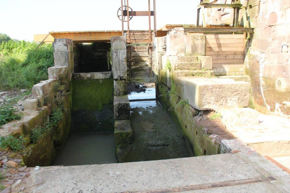 An der alten Wehranlage kommt kein Wasser mehr an. Die verbliebenen Pfützen vertrocknen mit der Zeit. Noch staut das Unterwasser bis in die Baustelle zurück.