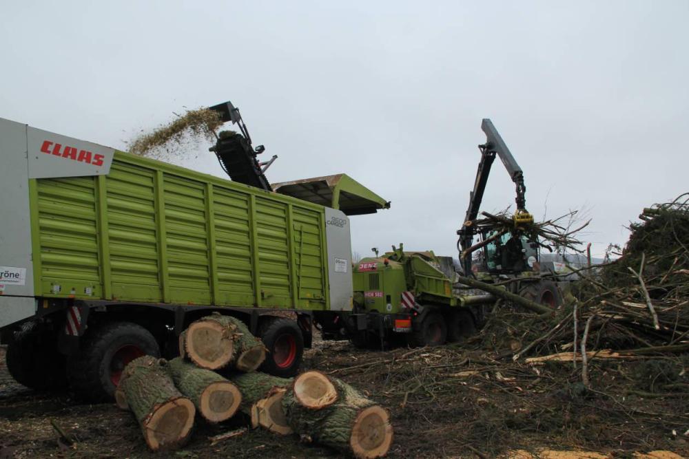 Mit über 500 PS wird das Holz zerkleinert. Mit großvolumigen Ladewagen werden die Hackschnitzel abgefahren. Aufgenommen am 17.02.12
