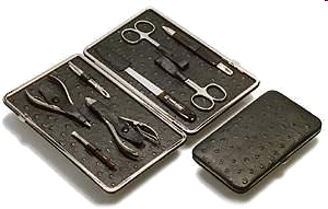 Picture of Malteser Manicureset, with 8 instruments, in detail nail- and cutlicle scissors, nail- and cuticle nippers, tweezer, nailfile, nail cleaner with pusher, cuticle brush