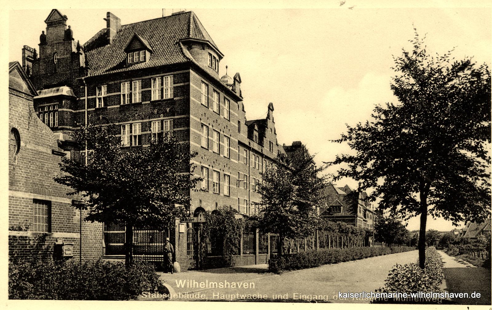 Das in den 70er-Jahren abgerissene Stabsgebäude - Ansicht von Südwest, Mühlenweg