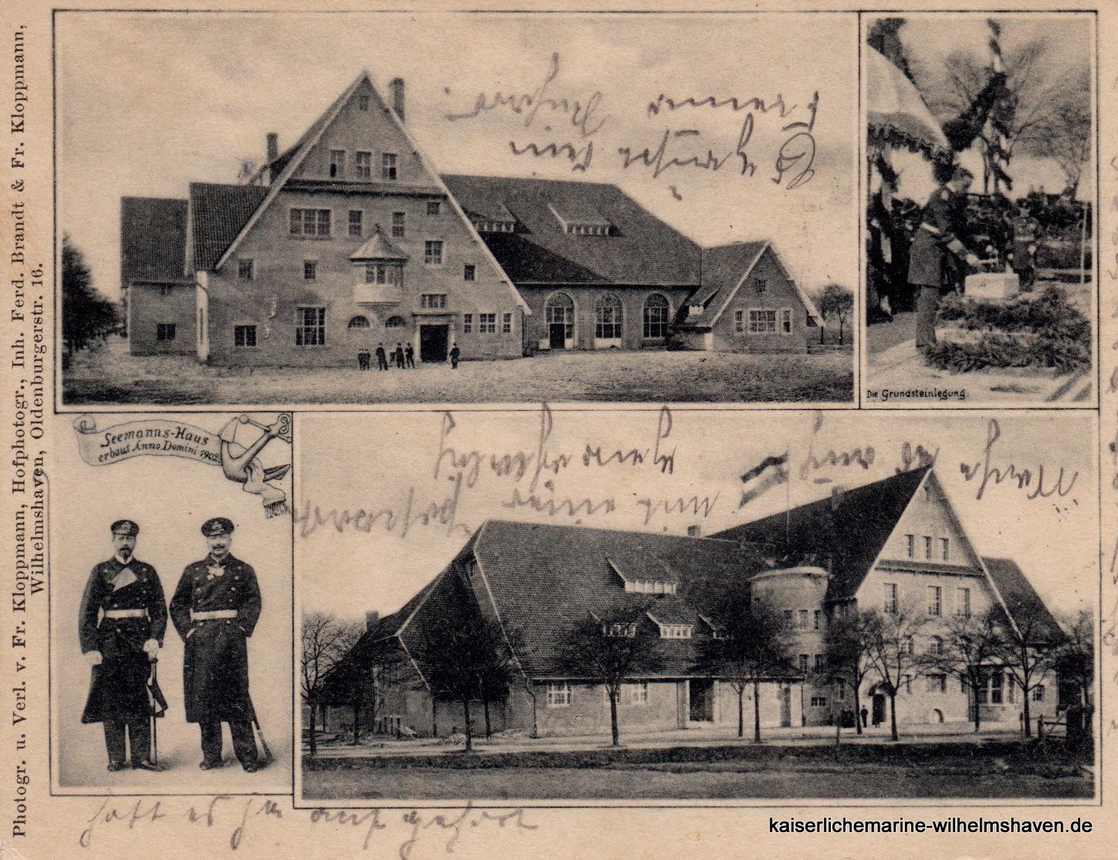 Mehrbildkarte mit Ansichten von Ost (oben), Nordwest sowie von der Grundsteinlegung