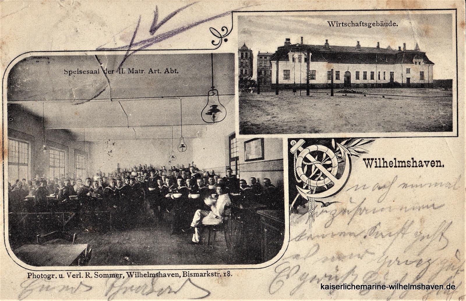 Frühe Aufnahme des Wirtschaftsgebäudes für die Matrosen-Artillerie-Abteilung am nördlichen Ende der Kaserne an der Gökerstraße