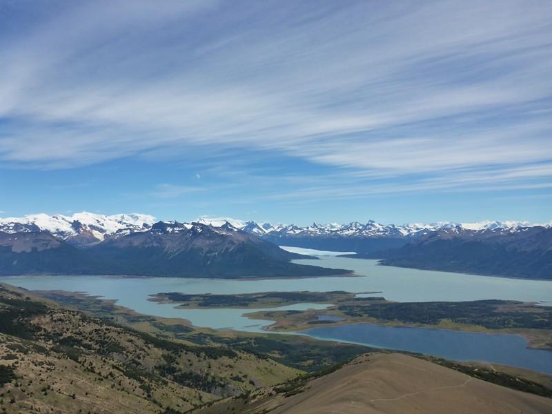 Aussiecht auf den Lago Argentino, Lago Roca und den Perito Moreno Gletscher