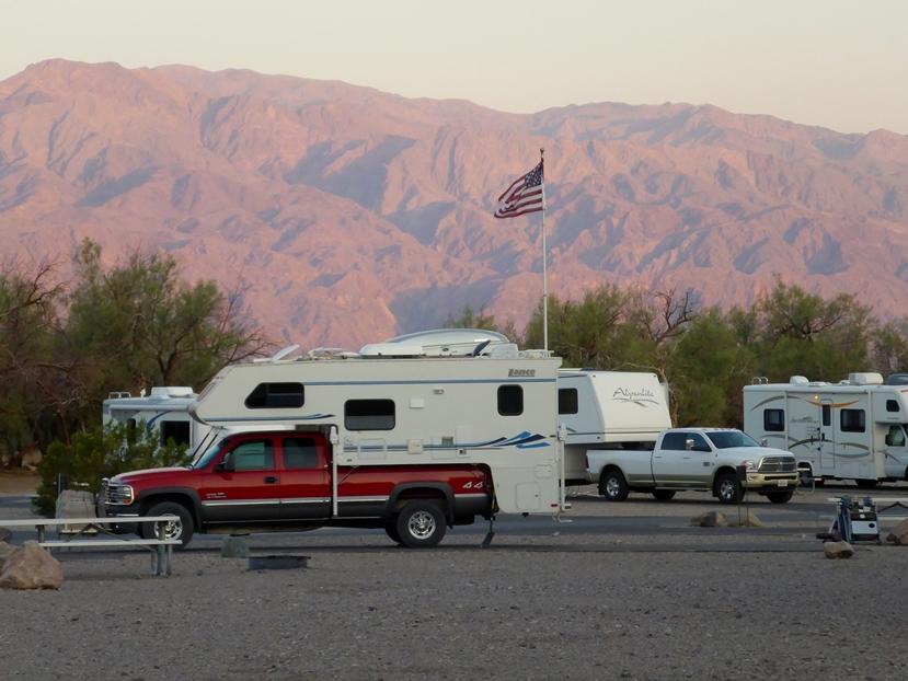 Auf dem Camping werden häuffig USA Flaggen gehisst....