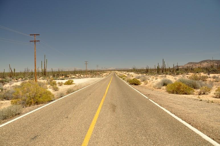 Schnurgerade, brennend heiss und kein Verkehr - Baja California
