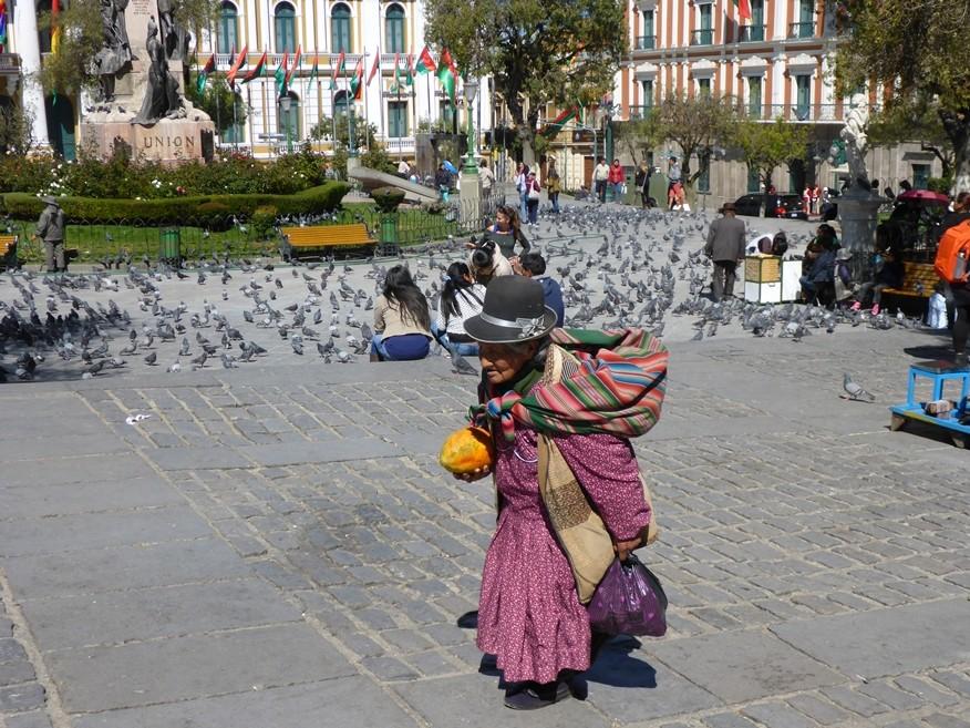 Auf der Plaza Murillo - viele Tauben sind da