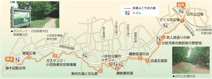 よこやまの道 ルート図 (パンレットより)