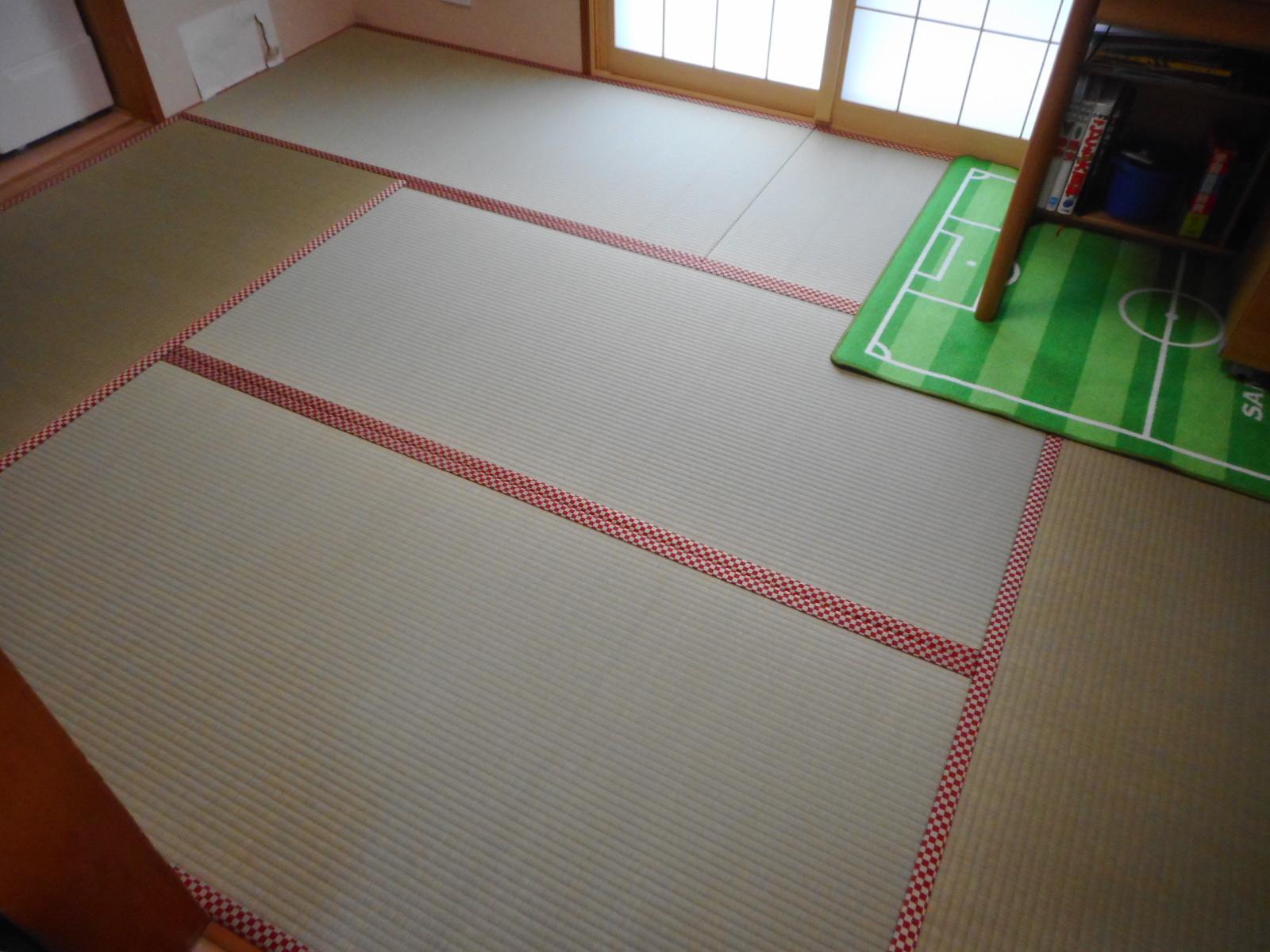 八王子市T様 新畳上級品の畳おもてと赤い畳縁の施工例