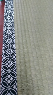 紋の畳縁 お寺の畳