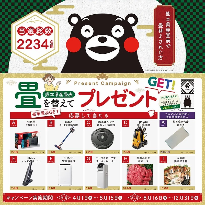 熊本県産畳表 畳を替えてプレゼントGETキャンペーン! 抽選結果発表!