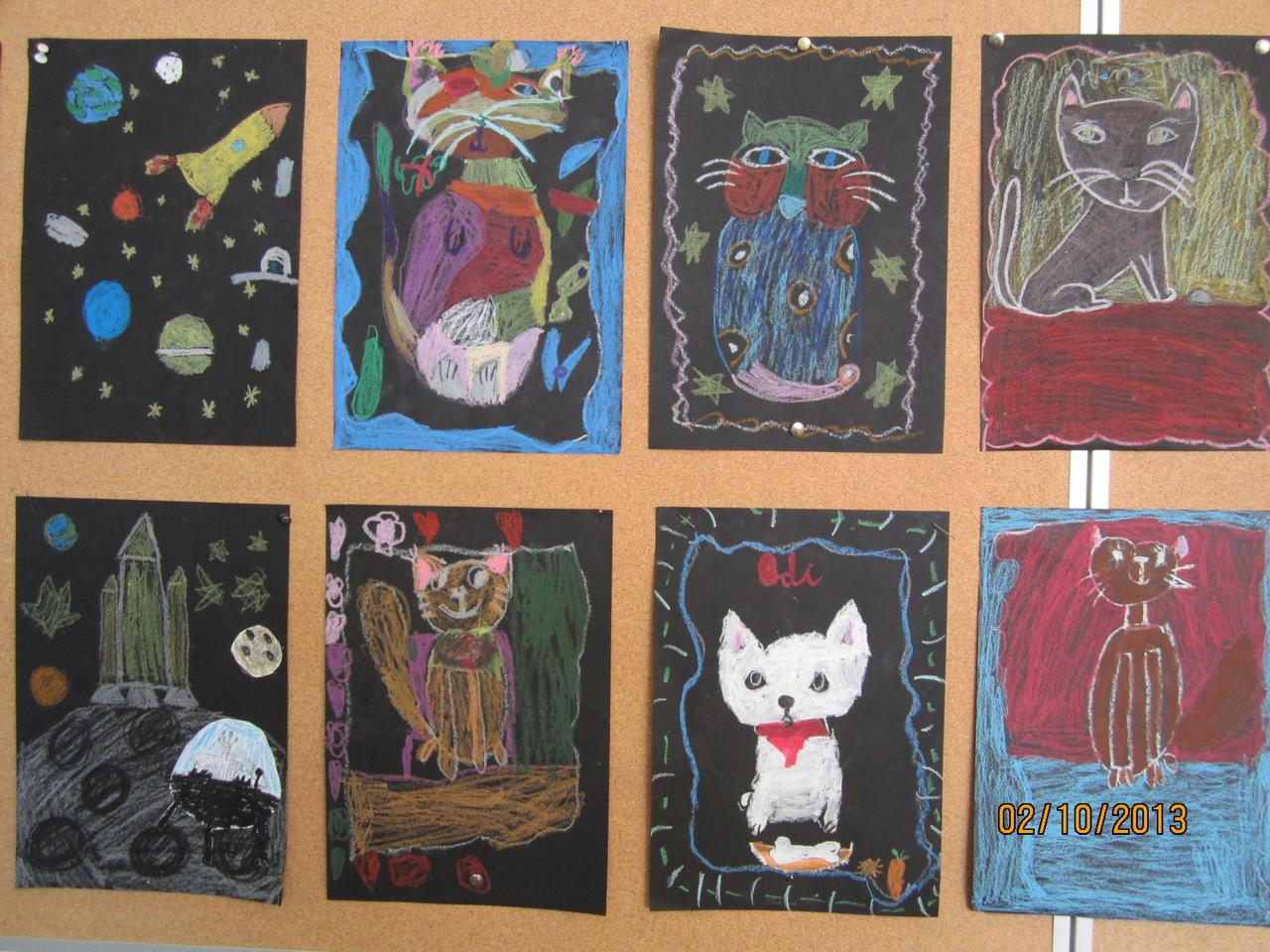 Kocie malowanie rysunek Zuzi
