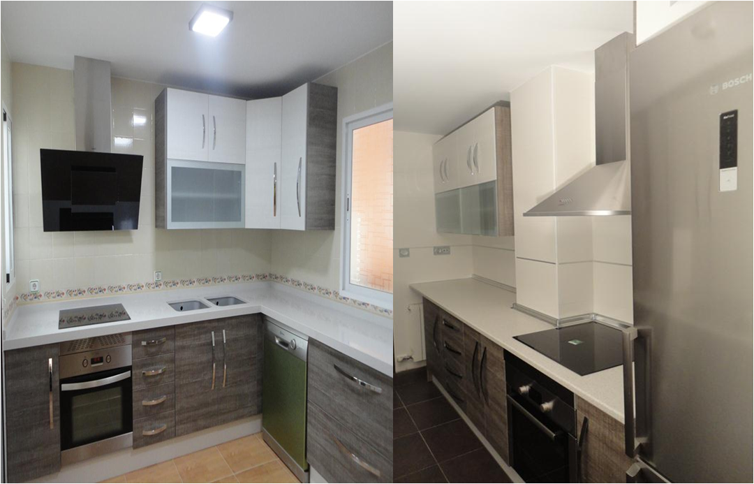 Dos cocinas modelo loira gris y blanco cocinas jaen - Cocinas blanco y gris ...