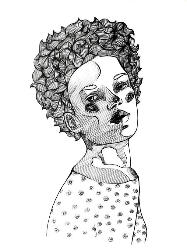 That Hair, Illustration mit Tinte, (c) Felice Vagabonde, Illustratorin aus Hamburg