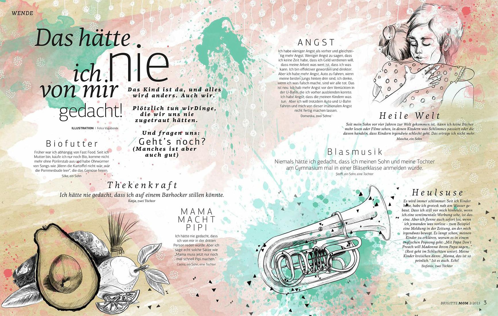 Editorial Illustration für die Brigitte MOM 2/2015