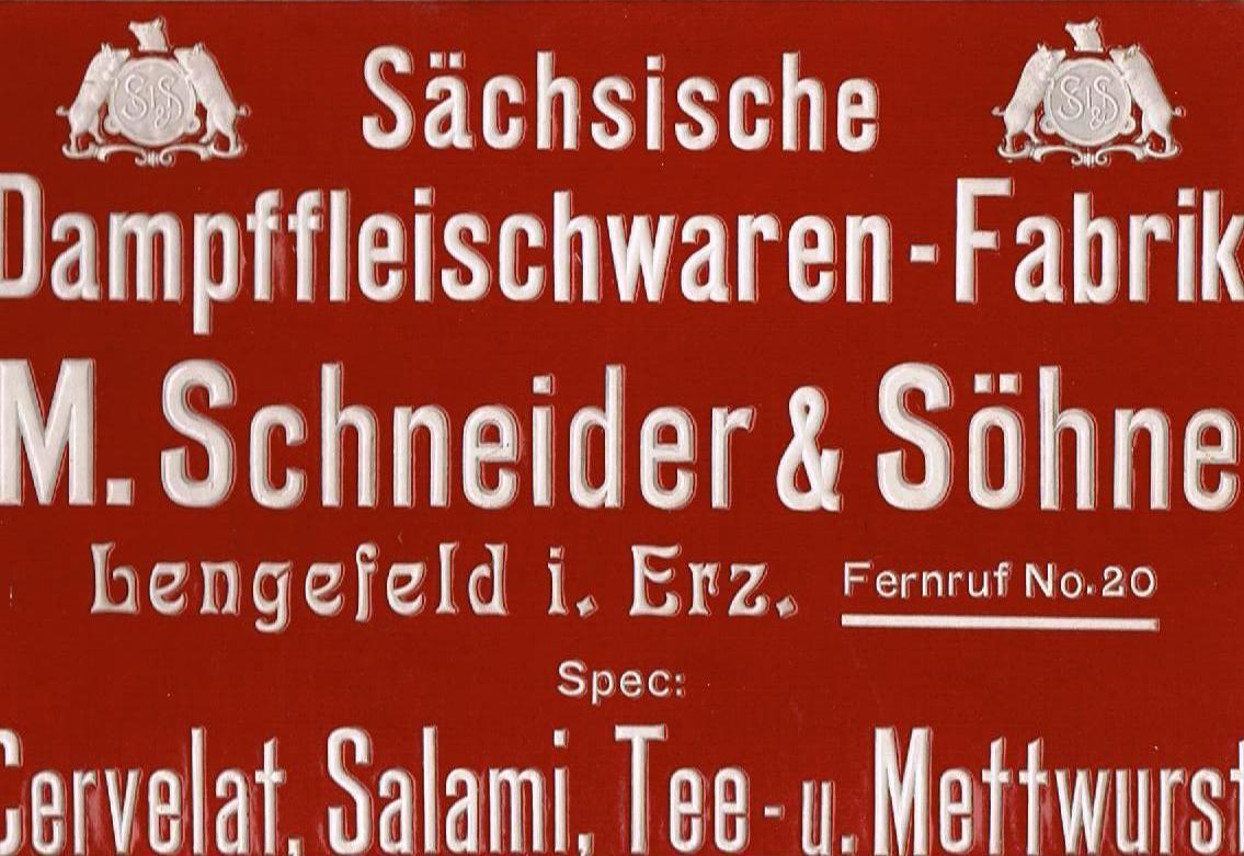 altes Werbeschild der Sächsischen Dampffleischwaren - Fabrik