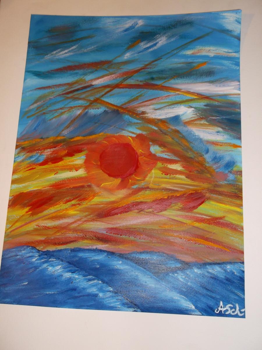 Die rote Sonne: (Malpappe) 30 cm x 40 cm