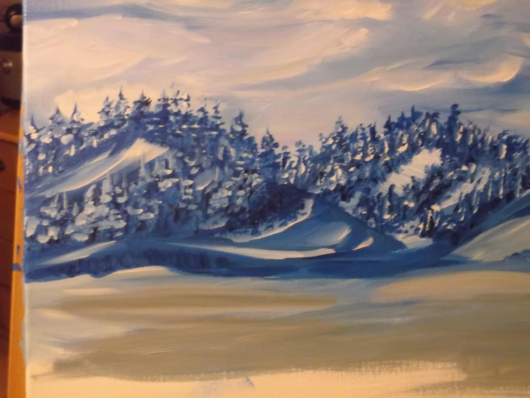 Bergwelt im Morgengrauen 50 x 70 cm Leinwand