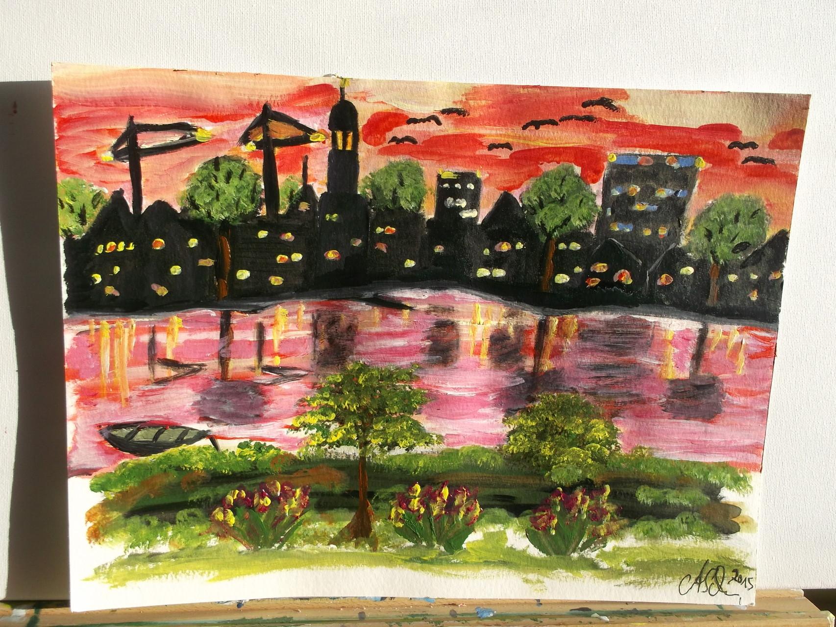 Hamburg an der Elbe / 30 x 40 cm Aquarellblock - Papier