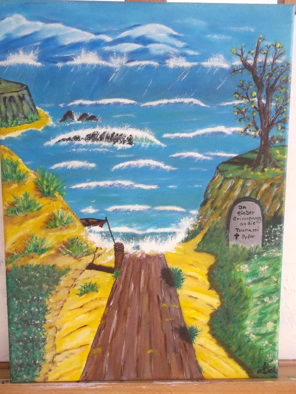 Gedenken an die Tsunamiopfer (Leinwand) 40 x 30 cm