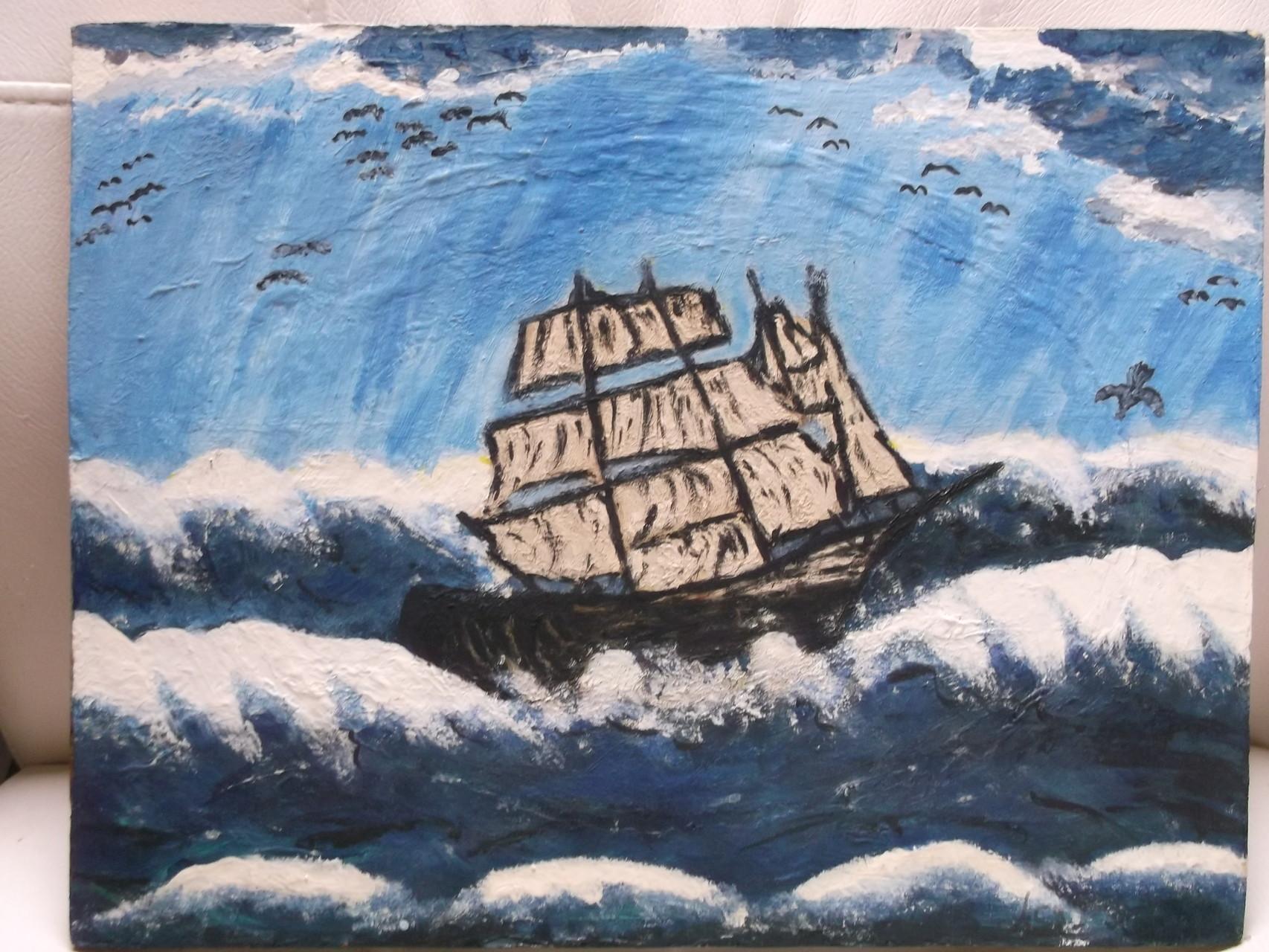 Segelschiff auf hoher See (Leinwand) 35 x 40 cm