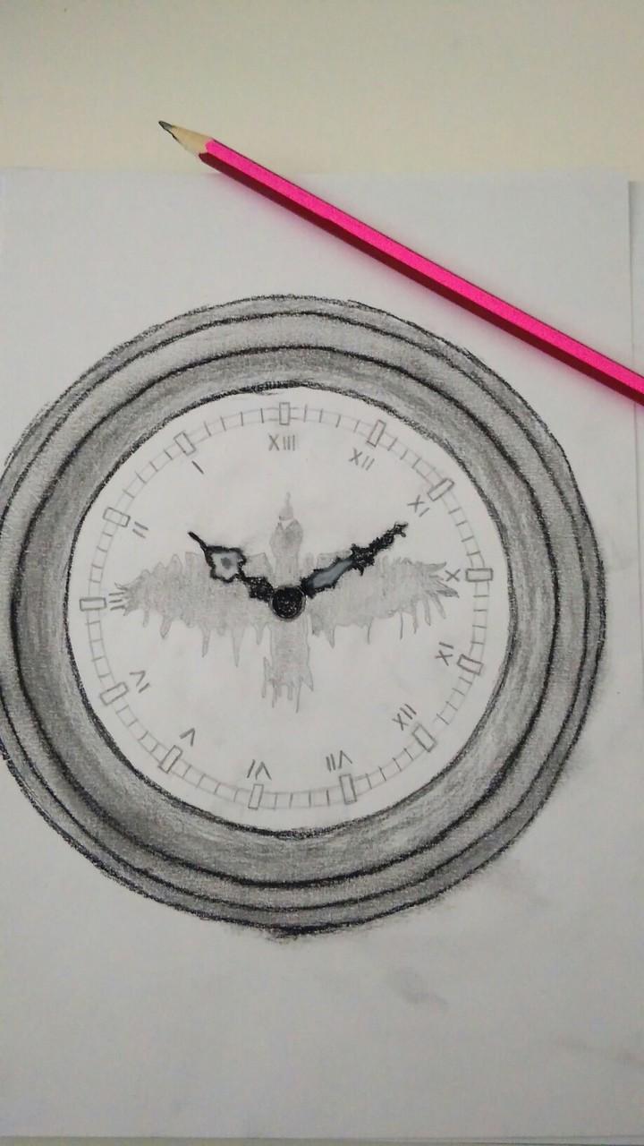 Uhr schlägt 13 Bleistift Kohle Zeichnung