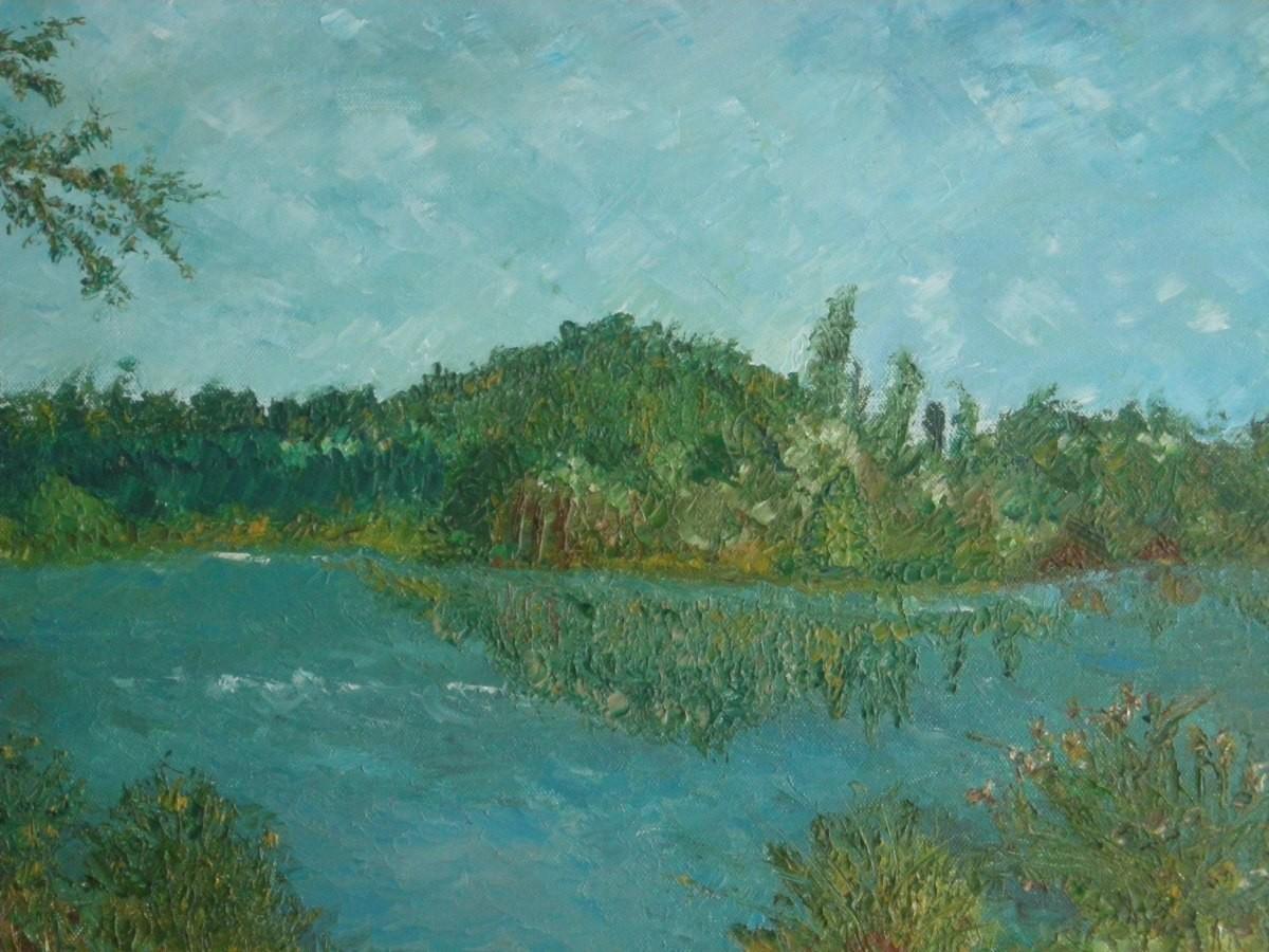 Haussee in Mecklenburg: (Leinwand) 50cm x 45 cm