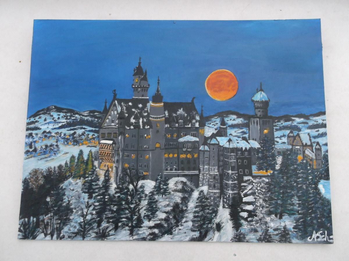 Schloß Neu Schwanstein: (auf dünner Leinwand) 45 cm x 35 cm