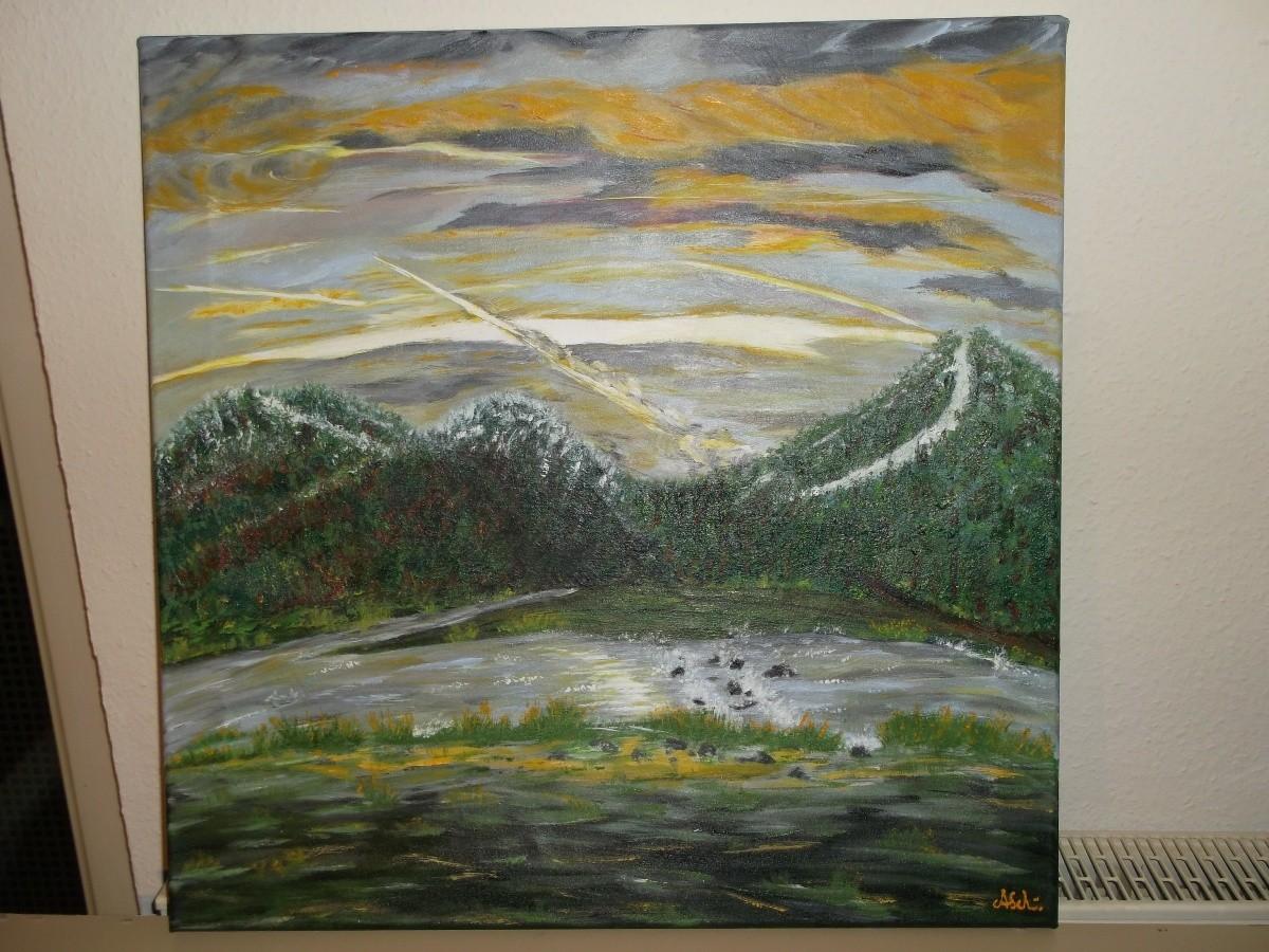 Sonnenaufgang im Murgtal: (Leinwand) 70cm x 50cm