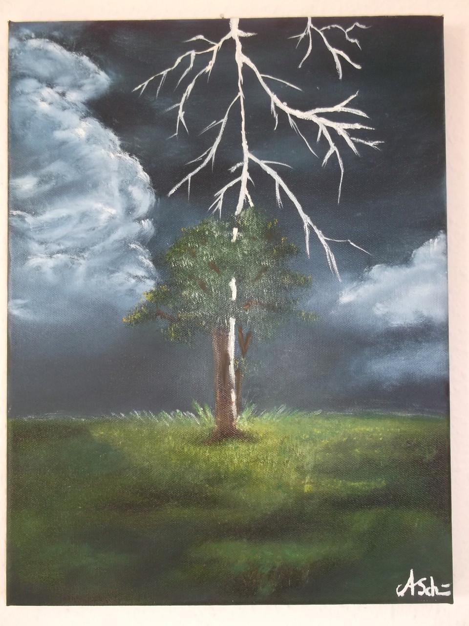 Blitz im Baum: (Leinwand) 30cm x 40 cm