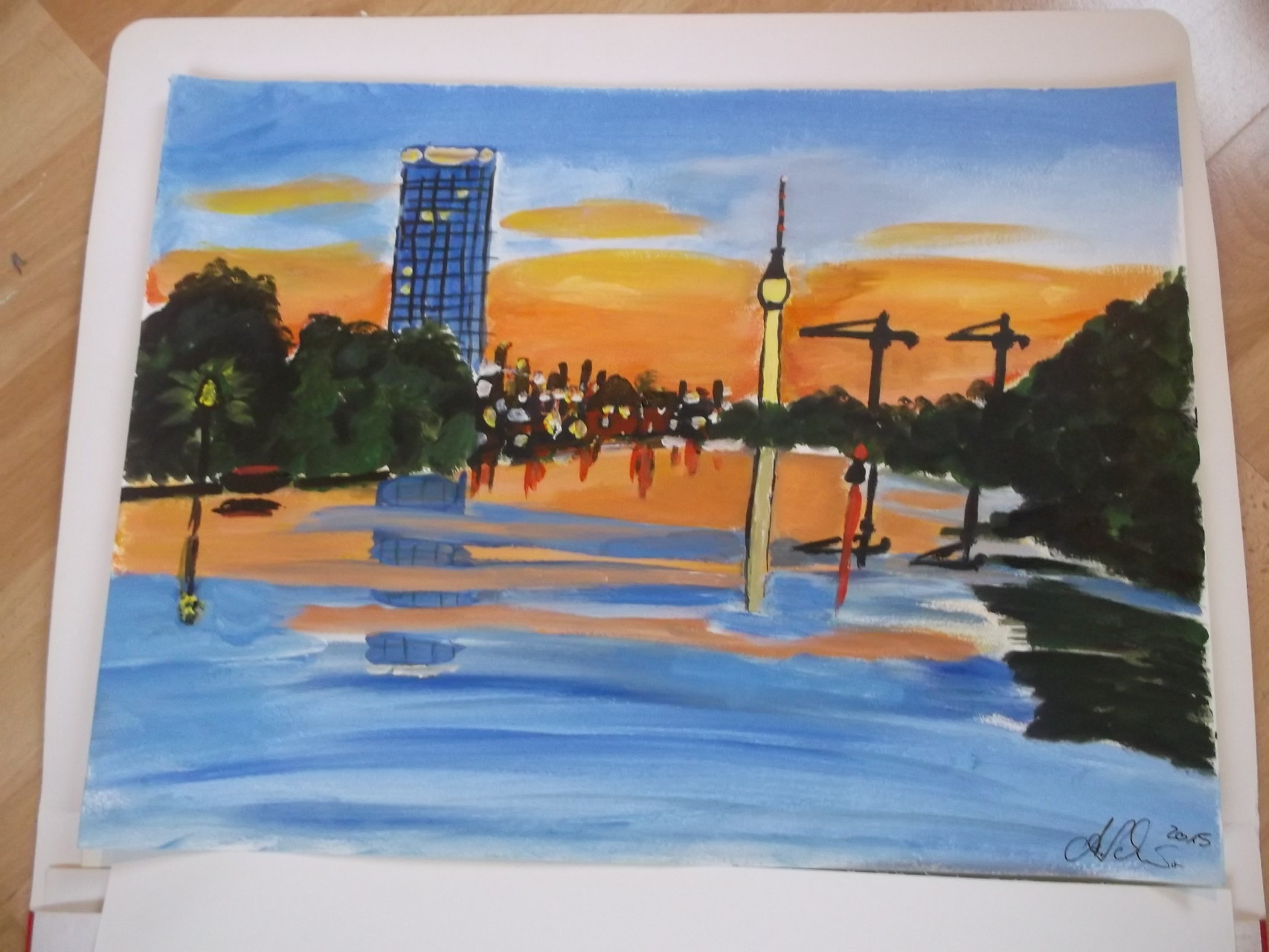 Oase in Berlin - Treptower Park an der Spree / 30 x 40 cm Aquarellblock - Papier