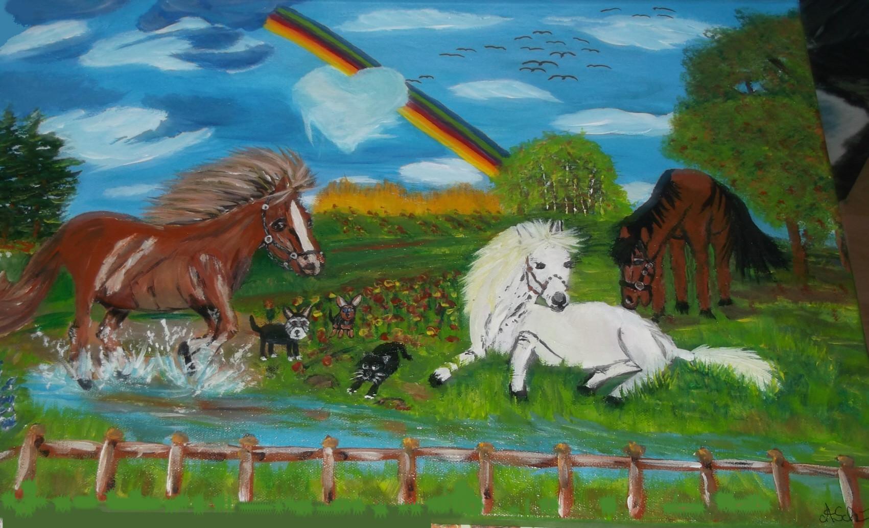 Pferde mit Hund und Katz  (Leinwand) 50 cm x 40 cm