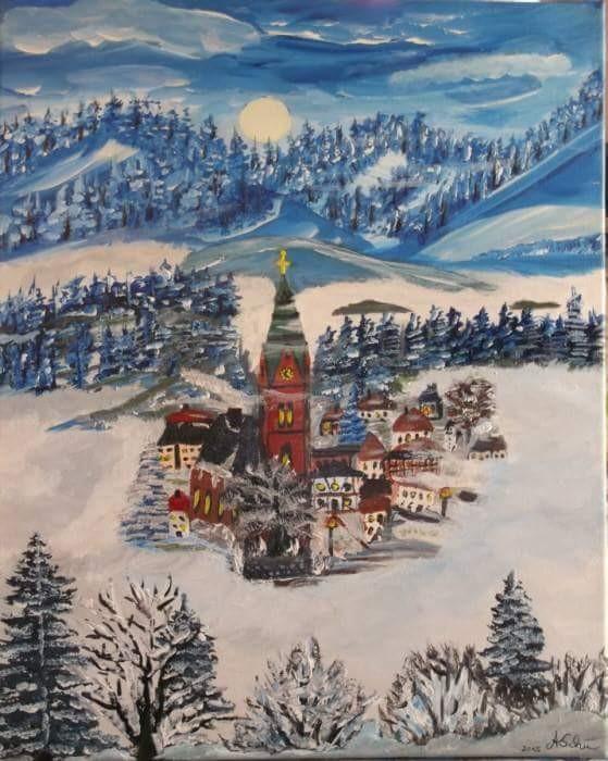 Bermersbach Schwarzwald im Winter 50 x 70 cm Leinwand