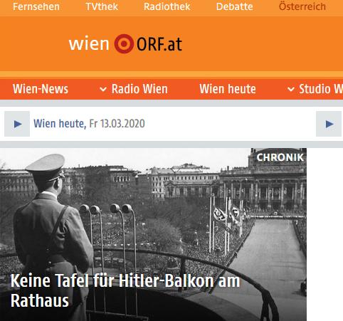ORF, 13.03.2020: Keine Tafel für Hitler-Balkon am Rathaus. Interventionen Memory Gaps 2018-2020.