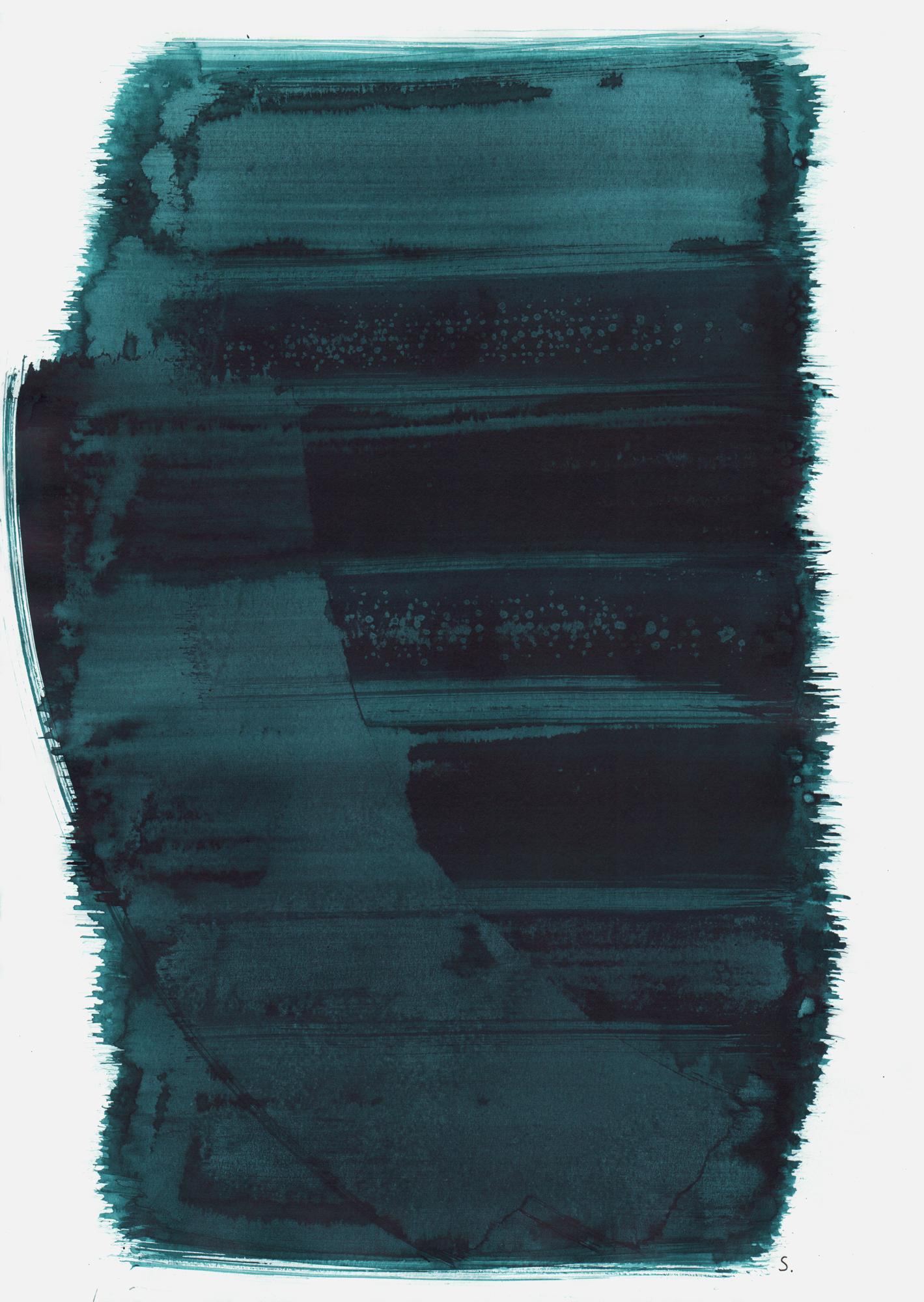 """""""An Rita Schön"""", 2019, Tusche auf Papier, 48 x 36cm; ©: Konstanze Sailer [Schön, Rita; * 12.04.1936 in Hamburg; deportiert aus Malines; † nach dem 31.07.1943 in Auschwitz]"""