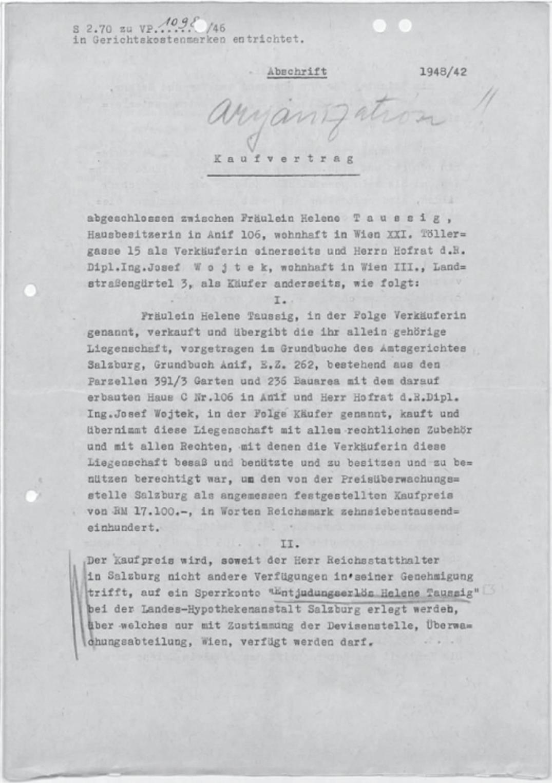 """Abschrift des """"Kaufvertrags"""", die Villa von Helene Taussig betreffend, mit handschriftlichem Vermerk """"aryanization !!"""""""