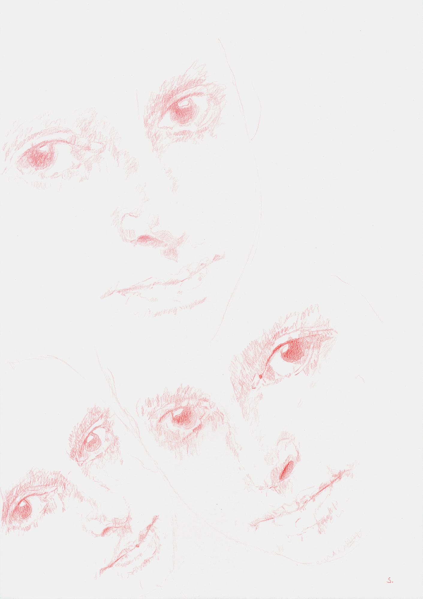 """Maria Luiko, Memorial 01"", 2017, Zeichnung auf Büttenpapier, 42 x 29,5cm, Roter Farbstift; ©: Konstanze Sailer"