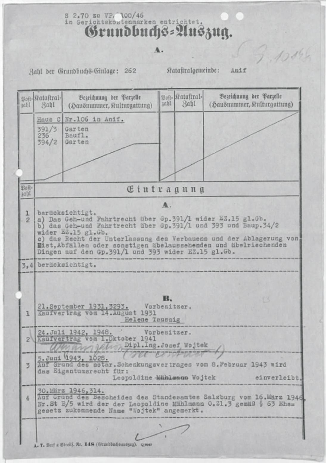 """Grundbuchsauszug betr. Kaufvertrag und Schenkung der Villa von Helene Taussig, mit handschriftlichem Vermerk """"aryanization (see contract!)"""""""