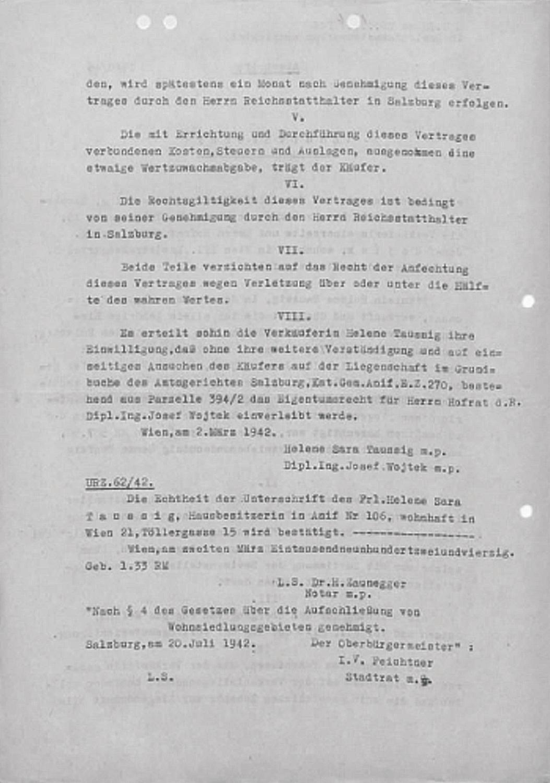"""Abschrift des """"Kaufvertrags"""", die Villa von Helene Taussig betreffend  (Seite 2)"""
