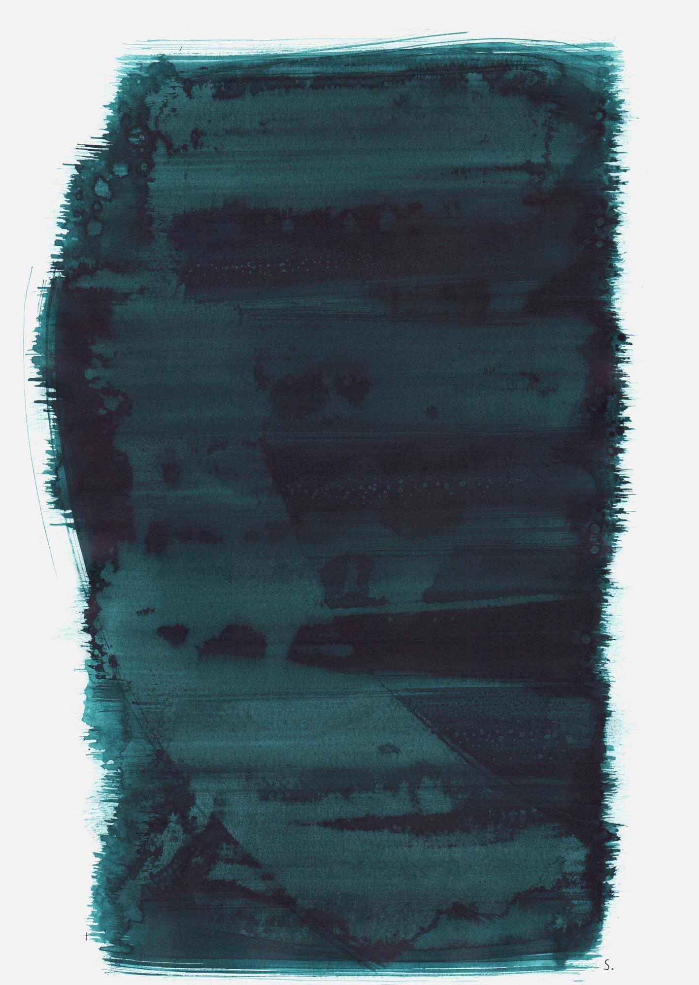 """""""An Jona Blumenfeld"""", 2019, Tusche auf Papier, 48 x 36cm; ©: Konstanze Sailer [Blumenfeld, Jona; * 03.09.1942 in Berlin; deportiert aus Berlin; † nach dem 02.03.1943 in Auschwitz]"""