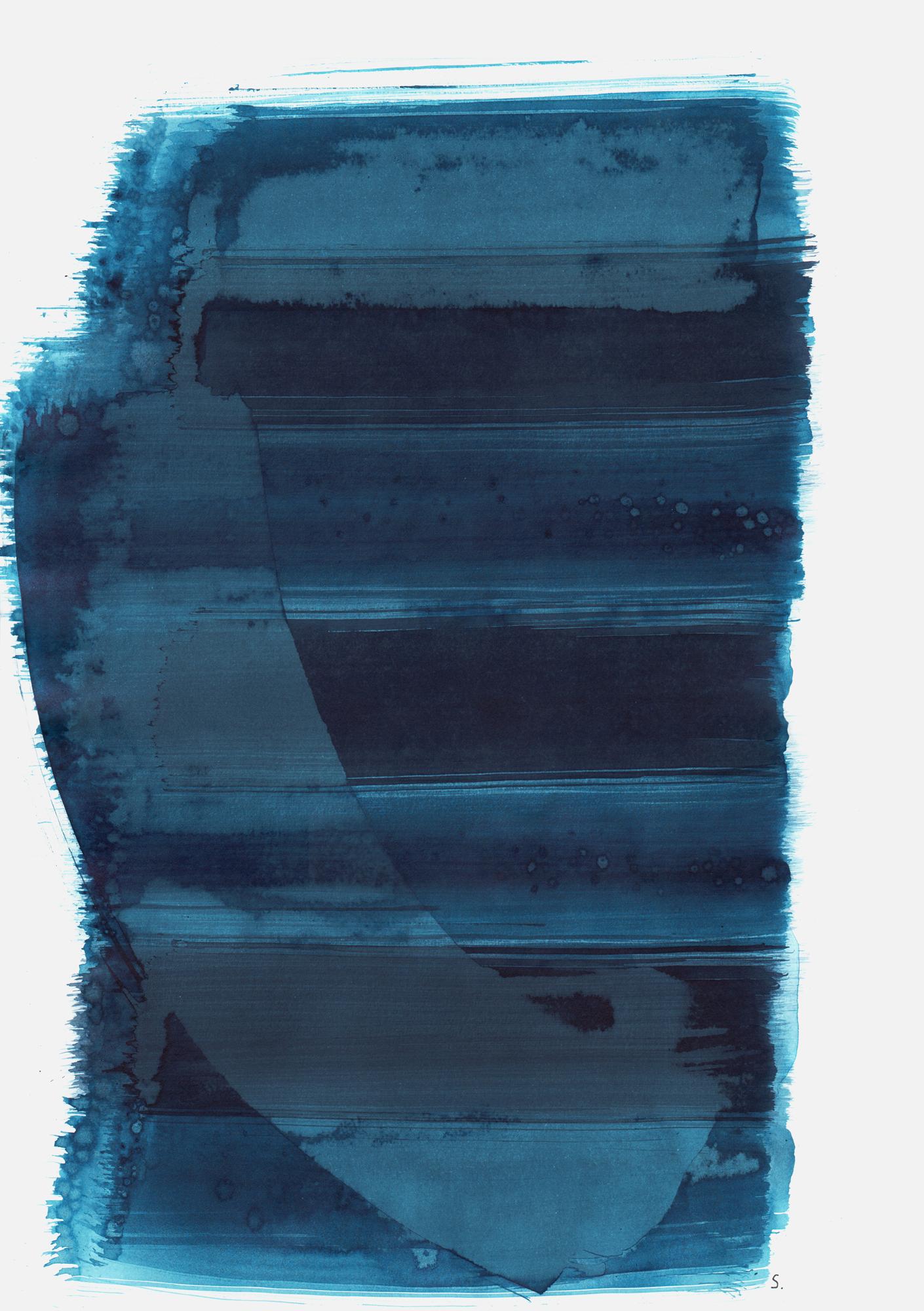 """An Isidor Frühling"", 2019, Tusche auf Papier, 48 x 36cm; ©: Konstanze Sailer [Frühling, Isidor; * 29.06.1931 in Berlin; deportiert aus Berlin; † nach dem 12.03.1943 in Auschwitz]"