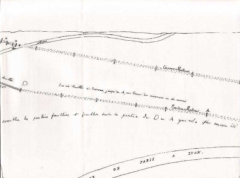 Extrait est du plan du 27 mars 1863 présentant les parties fouillées et non fouillées de la contrevallation dans la plaine de Grésigny