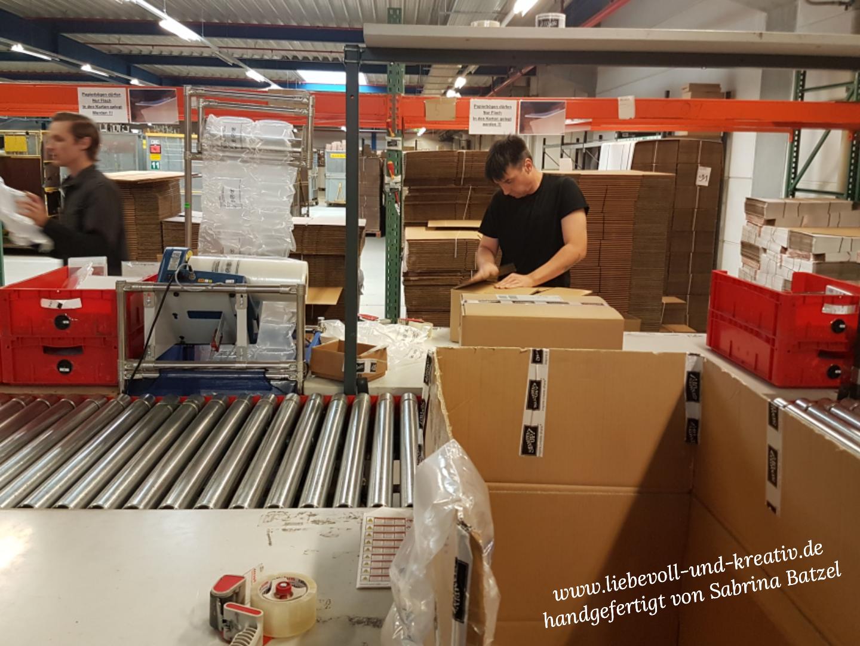 Zwei Mitarbeiter verpacken die Bestellung in Versandkartons.