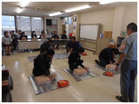 救急救命の訓練を実施